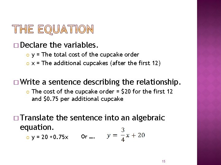 � Declare y = The total cost of the cupcake order x = The