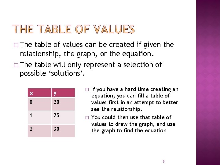 � The table of values can be created if given the relationship, the graph,