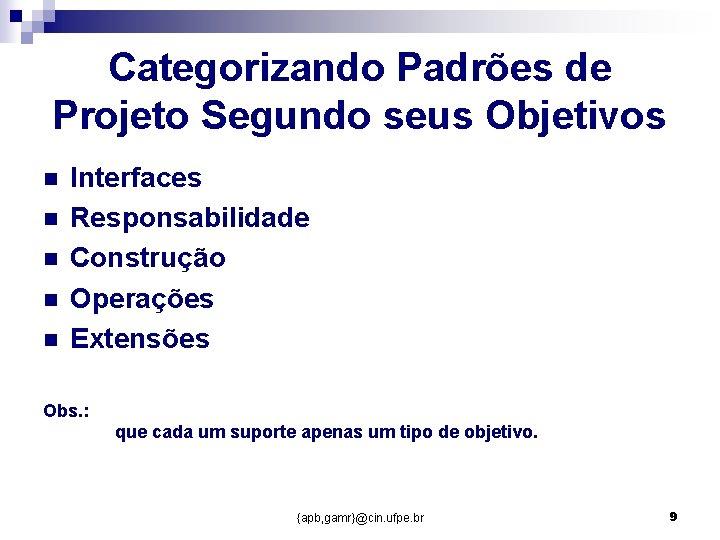 Categorizando Padrões de Projeto Segundo seus Objetivos n n n Interfaces Responsabilidade Construção Operações