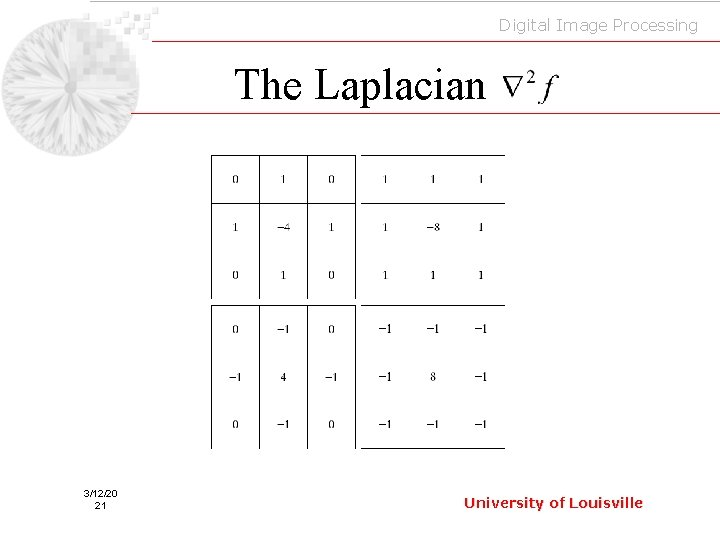 Digital Image Processing The Laplacian 3/12/20 21 University of Louisville