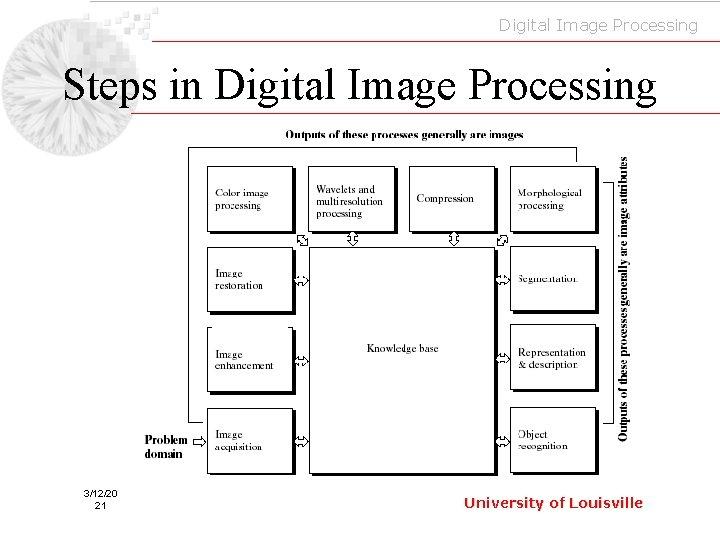 Digital Image Processing Steps in Digital Image Processing 3/12/20 21 University of Louisville