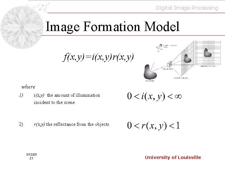 Digital Image Processing Image Formation Model f(x, y)=i(x, y)r(x, y) where 1) i(x, y)