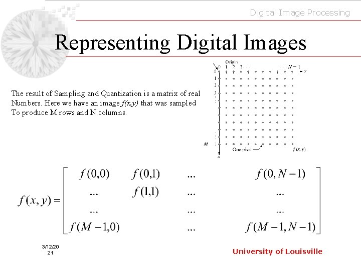 Digital Image Processing Representing Digital Images The result of Sampling and Quantization is a