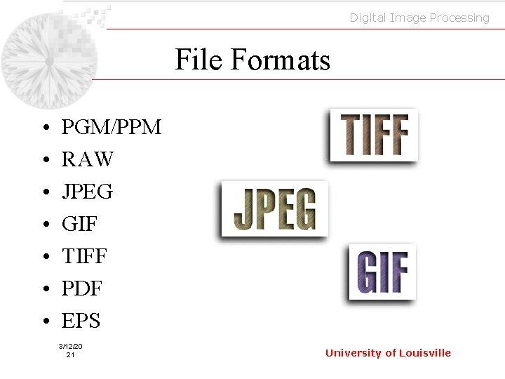 Digital Image Processing File Formats • • PGM/PPM RAW JPEG GIF TIFF PDF EPS