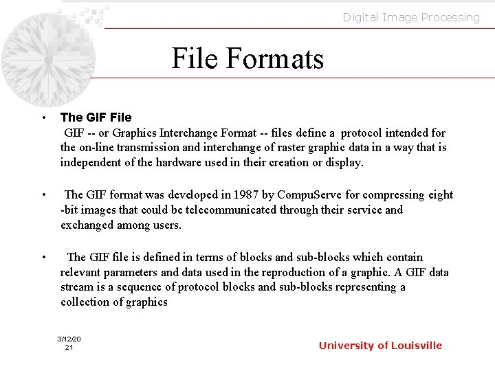 Digital Image Processing File Formats • The GIF File GIF -- or Graphics Interchange