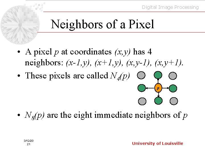 Digital Image Processing Neighbors of a Pixel • A pixel p at coordinates (x,