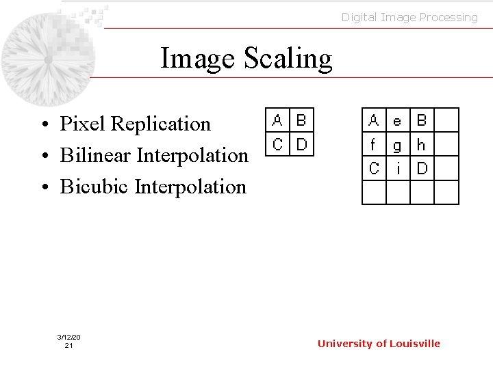 Digital Image Processing Image Scaling • Pixel Replication • Bilinear Interpolation • Bicubic Interpolation