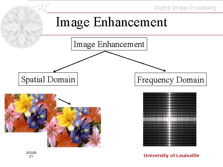 Digital Image Processing Image Enhancement Spatial Domain 3/12/20 21 Frequency Domain University of Louisville