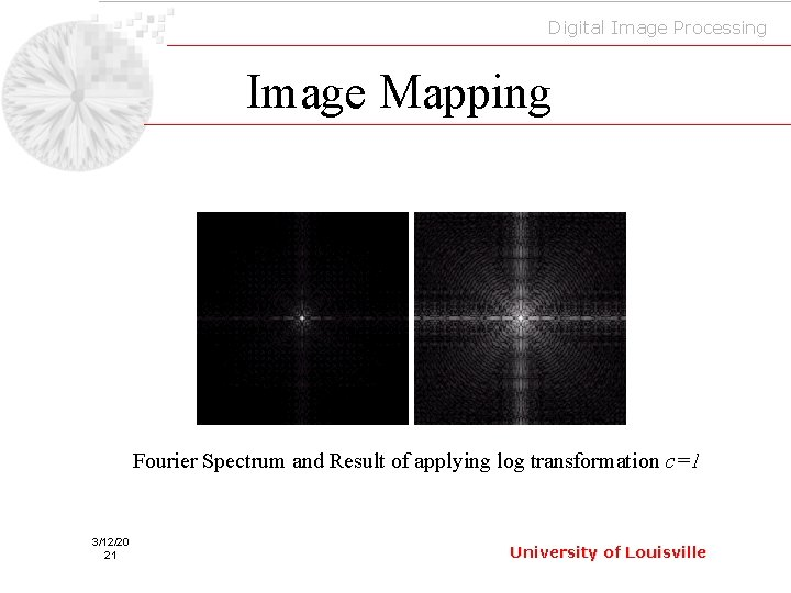 Digital Image Processing Image Mapping Fourier Spectrum and Result of applying log transformation c=1