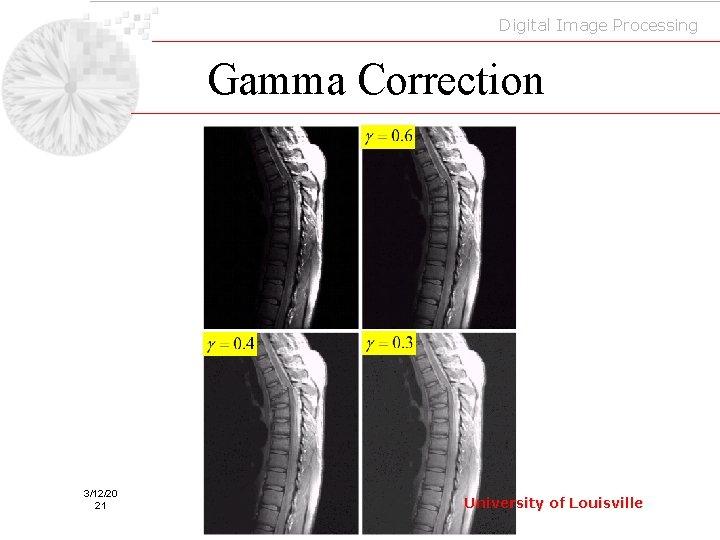 Digital Image Processing Gamma Correction 3/12/20 21 University of Louisville