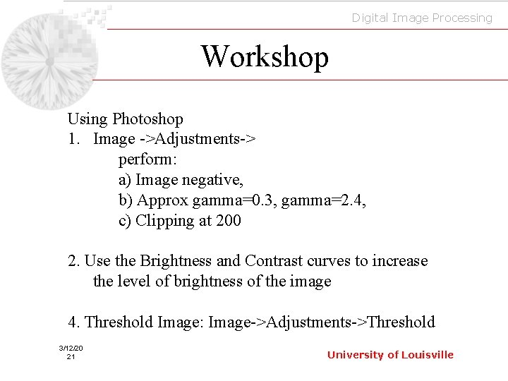 Digital Image Processing Workshop Using Photoshop 1. Image ->Adjustments-> perform: a) Image negative, b)