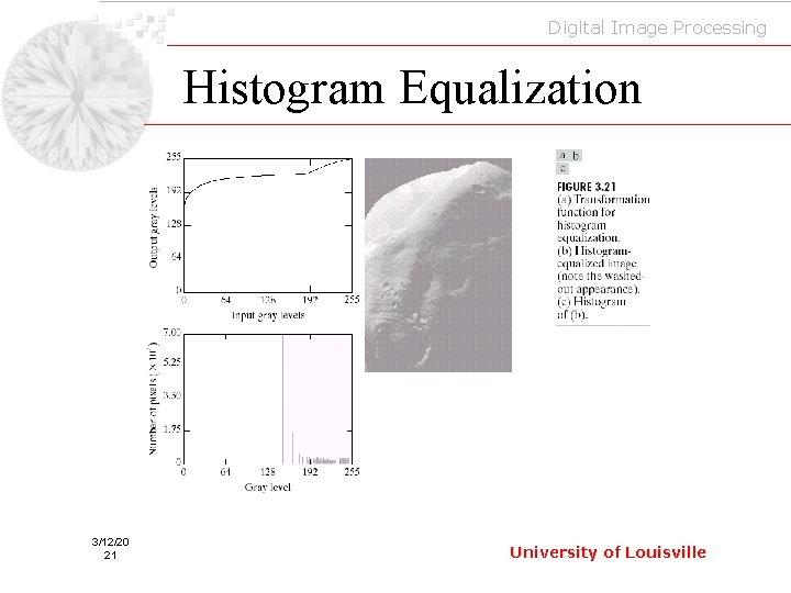 Digital Image Processing Histogram Equalization 3/12/20 21 University of Louisville