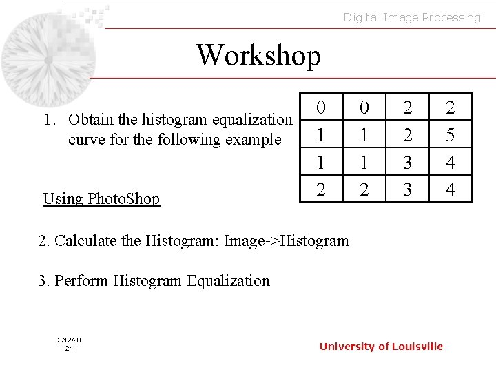 Digital Image Processing Workshop 1. Obtain the histogram equalization curve for the following example