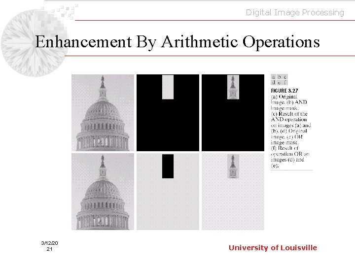 Digital Image Processing Enhancement By Arithmetic Operations 3/12/20 21 University of Louisville