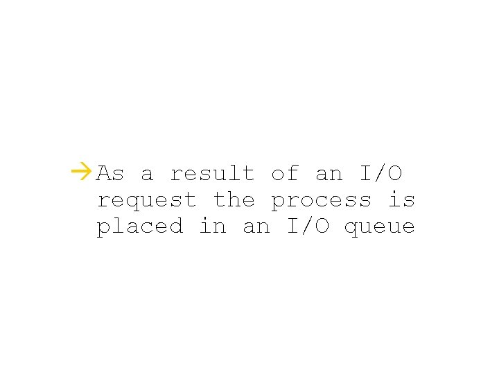 à As a result of an I/O request the process is placed in an