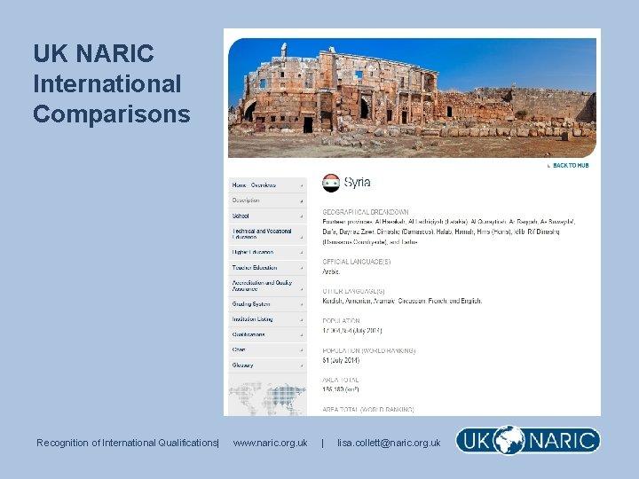 UK NARIC International Comparisons Recognition of International Qualifications| www. naric. org. uk | lisa.