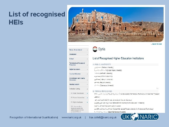 List of recognised HEIs Recognition of International Qualifications| www. naric. org. uk | lisa.
