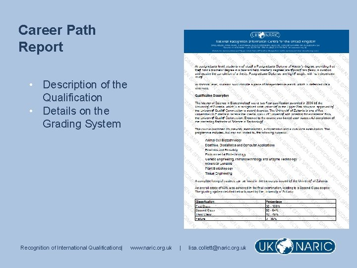 Career Path Report • Description of the Qualification • Details on the Grading System