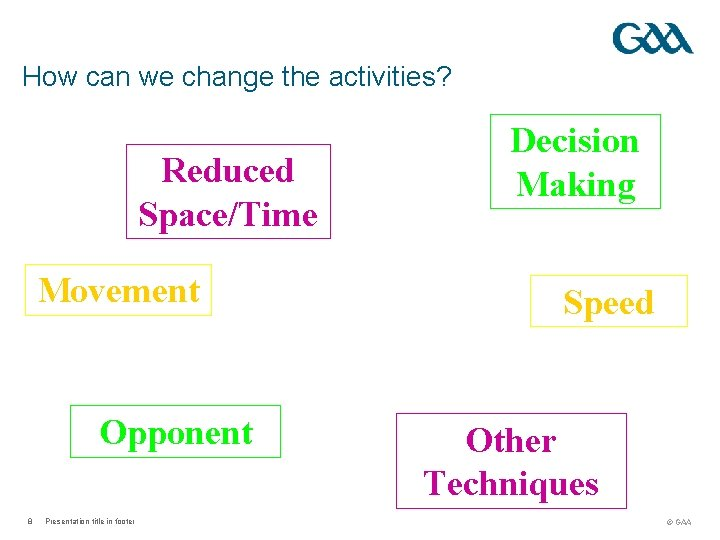 How can we change the activities? Reduced Space/Time Movement Opponent 8 Presentation title in