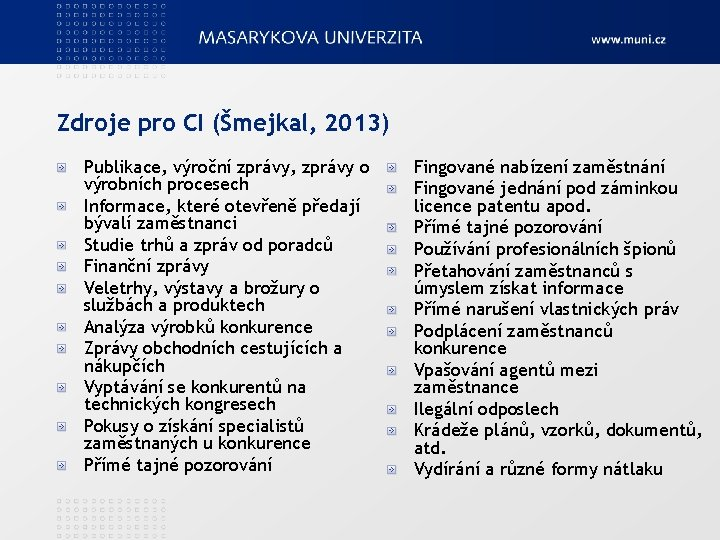 Zdroje pro CI (Šmejkal, 2013) Publikace, výroční zprávy, zprávy o výrobních procesech Informace, které