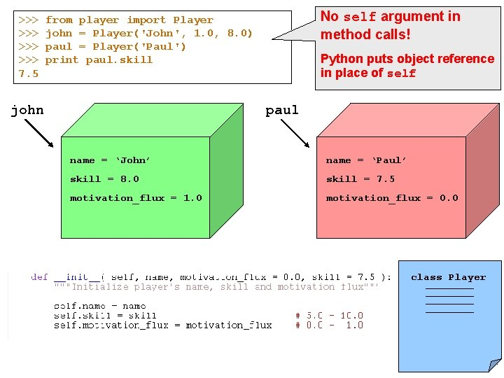 >>> >>> 7. 5 No self argument in method calls! from player import Player