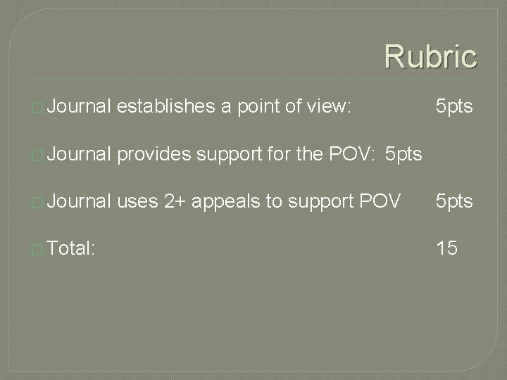 Rubric � Journal establishes a point of view: � Journal provides support for the