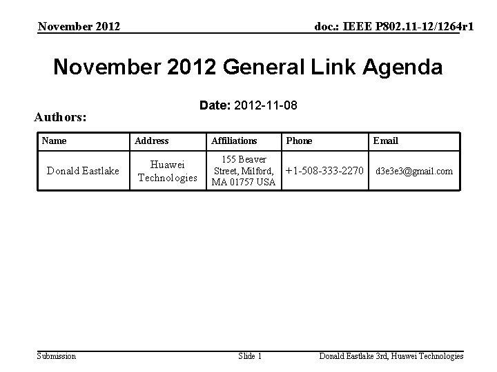November 2012 doc. : IEEE P 802. 11 -12/1264 r 1 November 2012 General