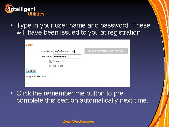 Intelligent Utilities • Type in your user name and password. These will have been
