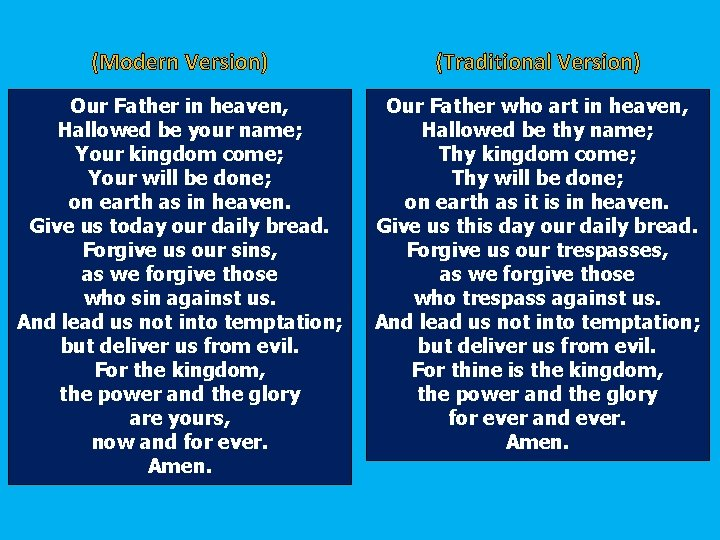 (Modern Version) (Traditional Version) Our Father in heaven, Hallowed be your name; Your kingdom