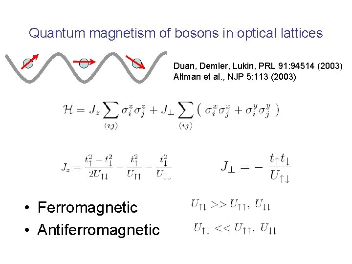 Quantum magnetism of bosons in optical lattices Duan, Demler, Lukin, PRL 91: 94514 (2003)