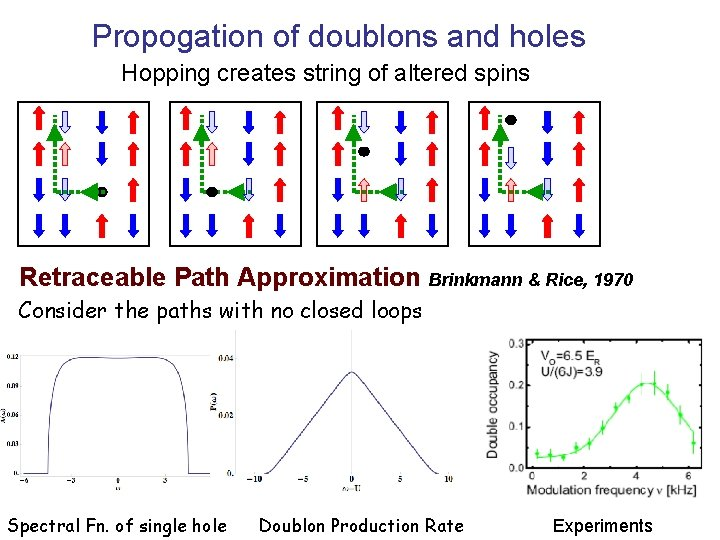 Propogation of doublons and holes Hopping creates string of altered spins Retraceable Path Approximation