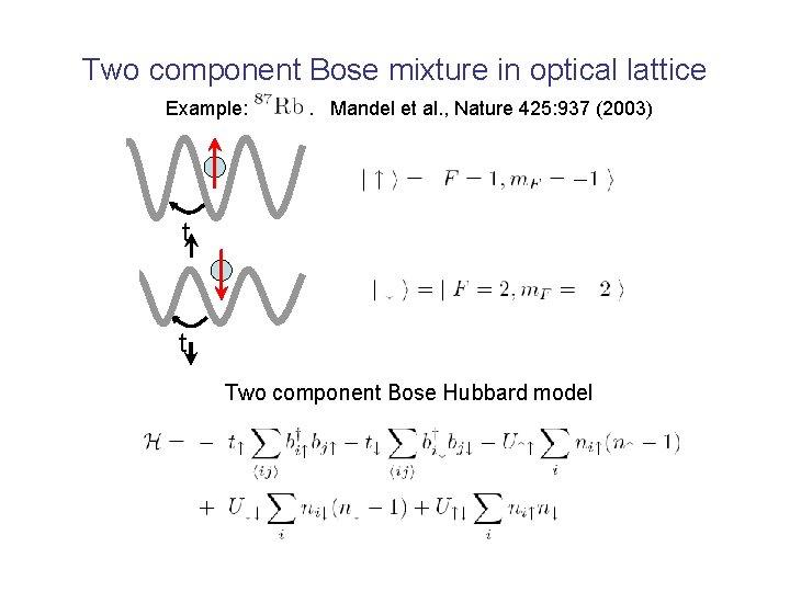 Two component Bose mixture in optical lattice Example: . Mandel et al. , Nature