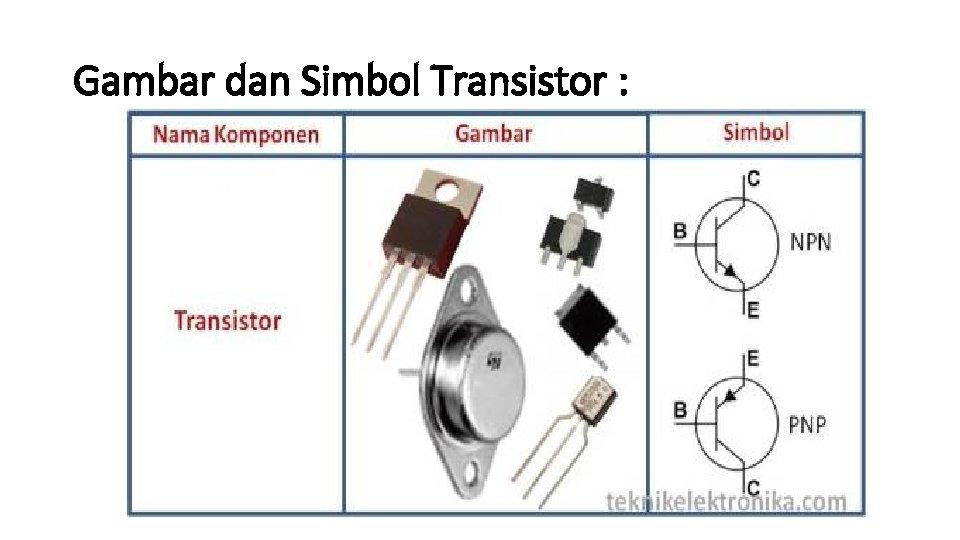 Gambar dan Simbol Transistor :