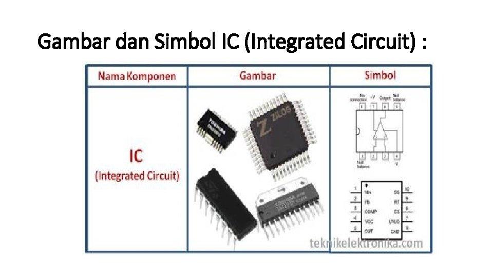 Gambar dan Simbol IC (Integrated Circuit) :