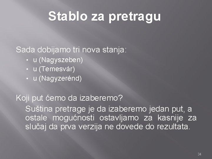 Stablo za pretragu Sada dobijamo tri nova stanja: u (Nagyszeben) • u (Temesvár) •