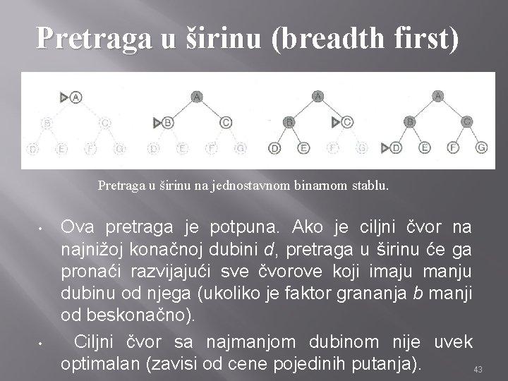 Pretraga u širinu (breadth first) • • Pretraga u širinu na jednostavnom binarnom stablu.
