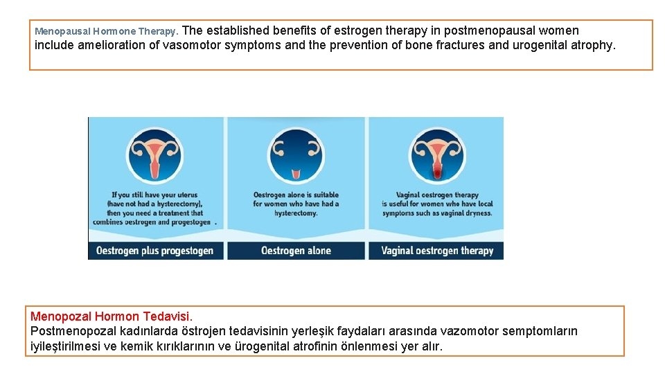 Menopausal Hormone Therapy. The established benefits of estrogen therapy in postmenopausal women include amelioration