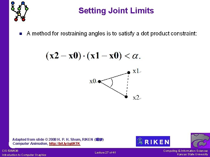 Setting Joint Limits Adapted from slide © 2008 H. P. H. Shum, RIKEN (理研)