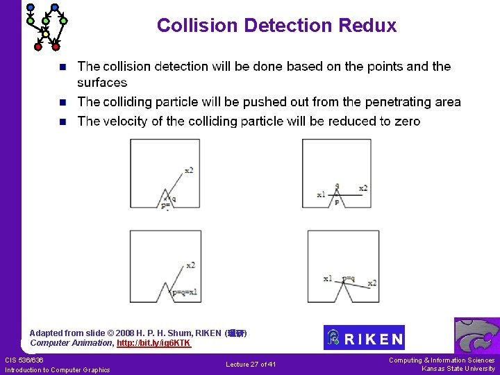 Collision Detection Redux Adapted from slide © 2008 H. P. H. Shum, RIKEN (理研)