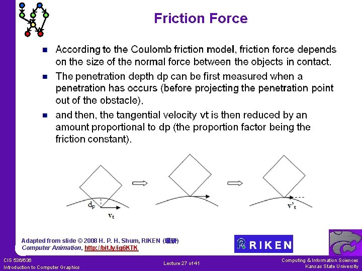 Friction Force Adapted from slide © 2008 H. P. H. Shum, RIKEN (理研) Computer