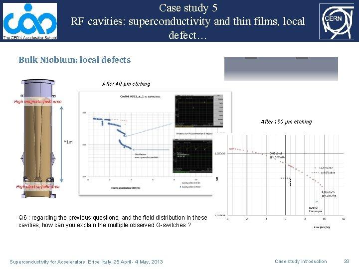 Case study 5 RF cavities: superconductivity and thin films, local defect… Bulk Niobium: local