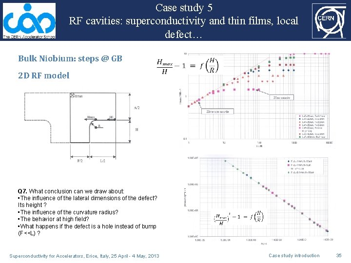 Case study 5 RF cavities: superconductivity and thin films, local defect… Bulk Niobium: steps