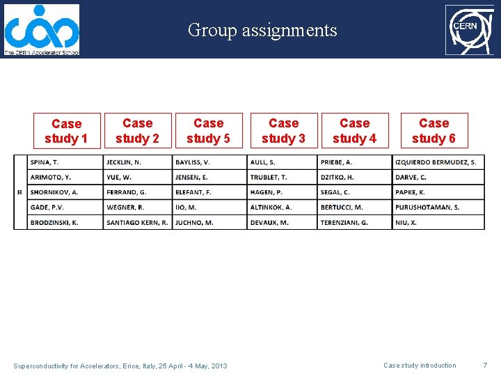 Group assignments Case study 1 Case study 2 Case study 5 Superconductivity for Accelerators,