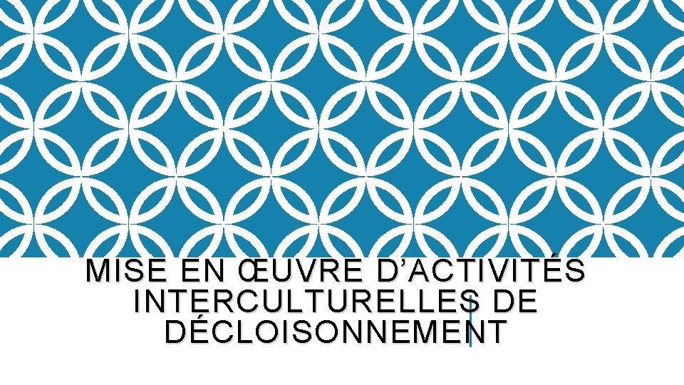 MISE EN ŒUVRE D'ACTIVITÉS INTERCULTURELLES DE DÉCLOISONNEMENT