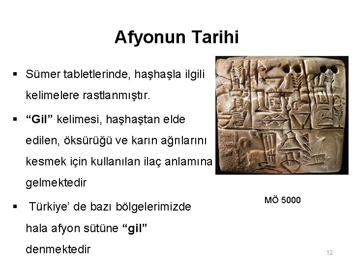 """Afyonun Tarihi § Sümer tabletlerinde, haşhaşla ilgili kelimelere rastlanmıştır. § """"Gil"""" kelimesi, haşhaştan elde"""