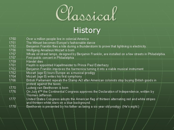 Classical History 1750 1751 1752 1756 1757 1759 1761 1762 1764 1766 1770 1776