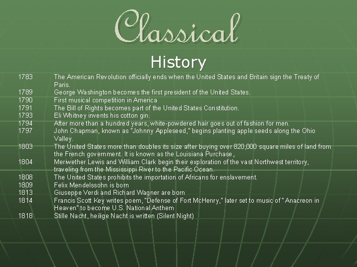 Classical History 1783 1789 1790 1791 1793 1794 1797 1803 1804 1808 1809 1813