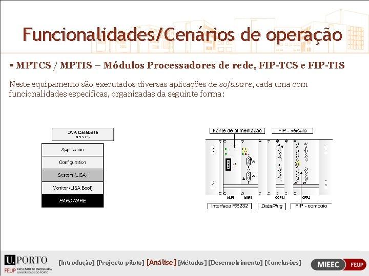 Funcionalidades/Cenários de operação § MPTCS / MPTIS – Módulos Processadores de rede, FIP-TCS e