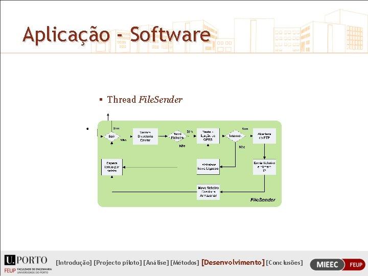 Aplicação - Software § Thread File. Sender [Introdução] [Projecto piloto] [Análise] [Métodos] [Desenvolvimento] [Conclusões]