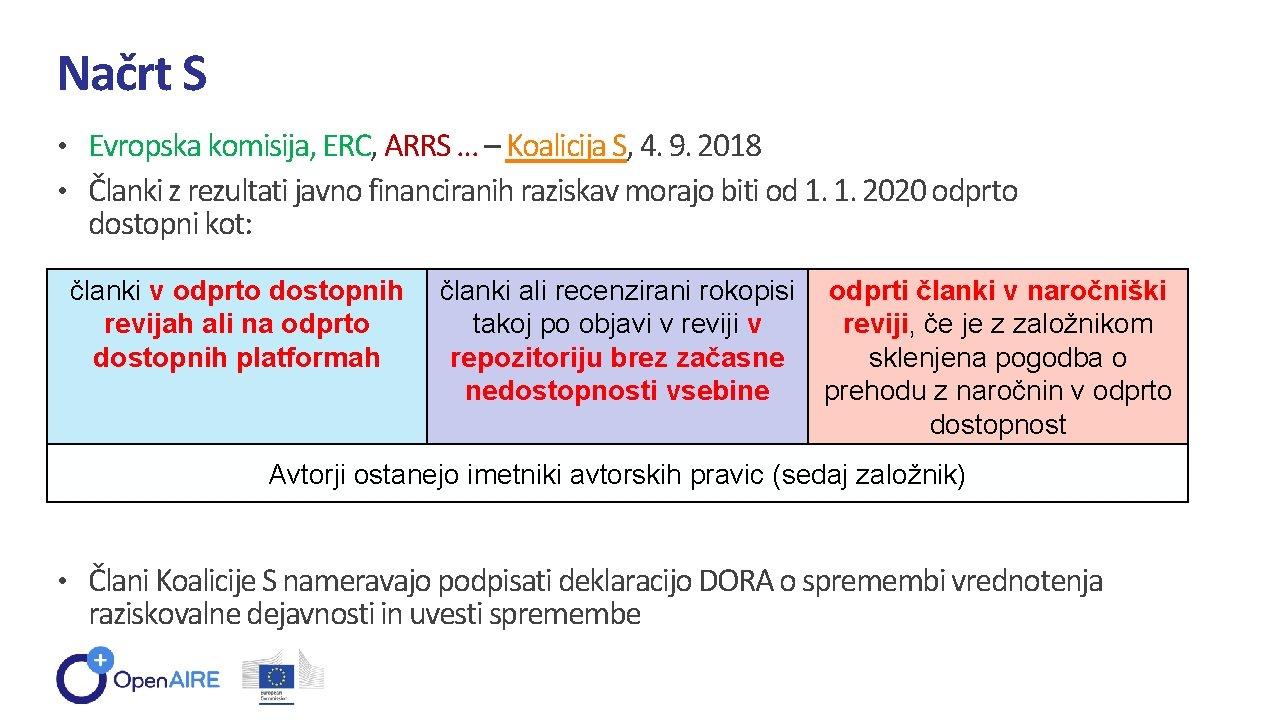 Načrt S • Evropska komisija, ERC, ARRS … – Koalicija S, 4. 9. 2018